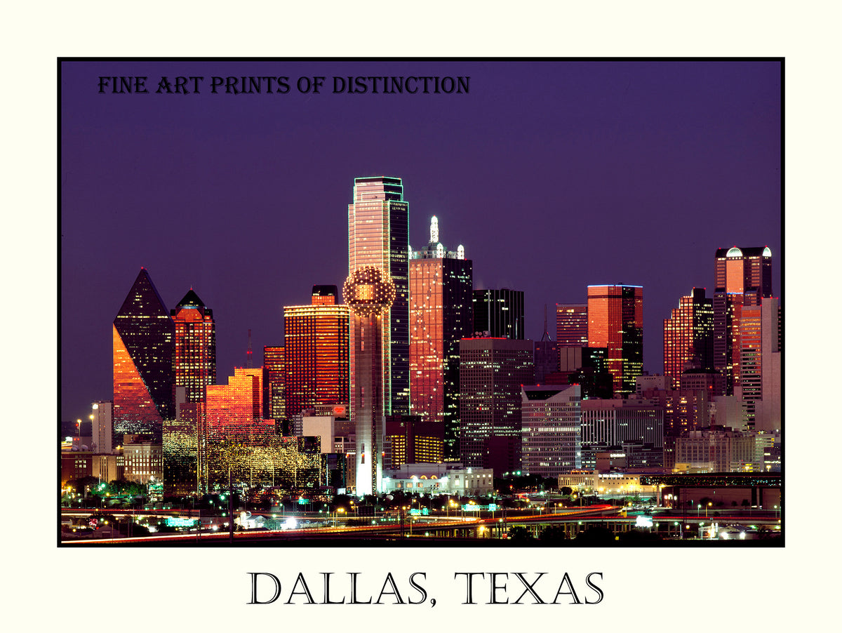 Skyline of Dallas Texas at Dusk Poster Style Art Print