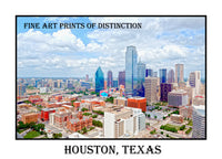 Houston Texas Skyline with the Bank of America Building in Poster Style