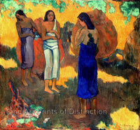 Three Tahitian Women Against a Yellow Background painted by Paul Gauguin