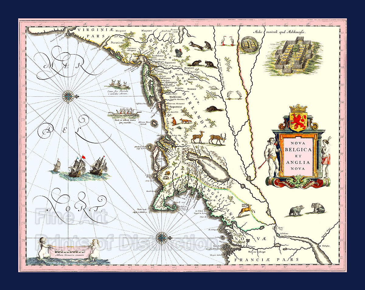 Blaeu Map Of New England And New York Brandywine General Store - Pars map