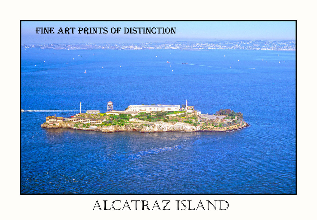Alcatraz Island with San Francisco in the Background in Poster Style