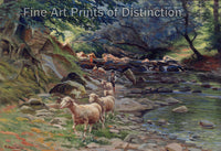 Small Flock of Sheep and Shepherds at the Brook by Ruggero Panerai
