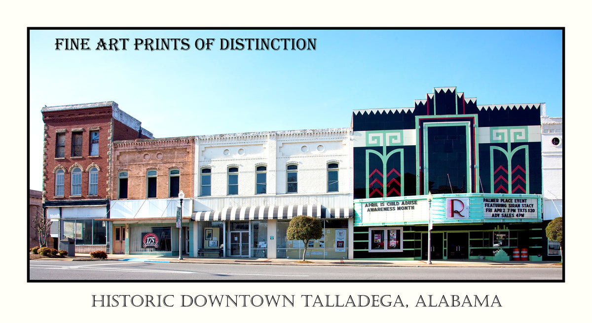 Talladega Alabama a Historic Downtown View in Poster Style