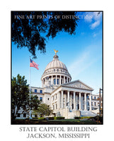 Poster Style Print of The Mississippi State Capitol Building in Jackson