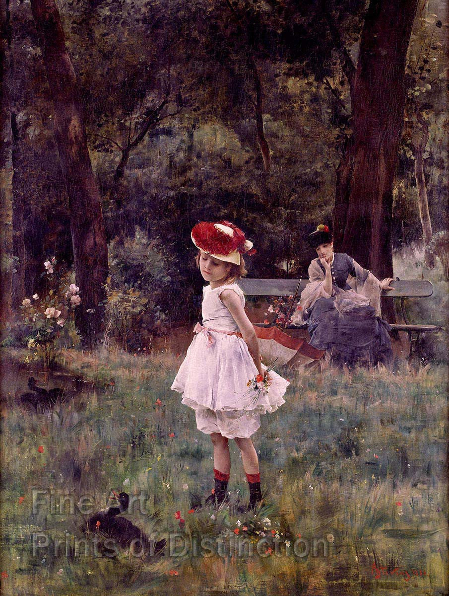 Stevens Alfred - Little Girl With Duck Fine Art Nature Print