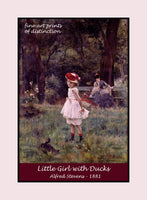 Little Girl With Duck painted by Alfred Stevens Premium Poster