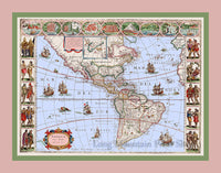 Janszoon Blaeu's antique map of Americae Nova Tabula from 1635