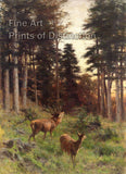 Deer at Dusk by Franz Xaver von Pausinger