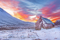 Rock Homestead with Snow and Golden Sunrise Art Print