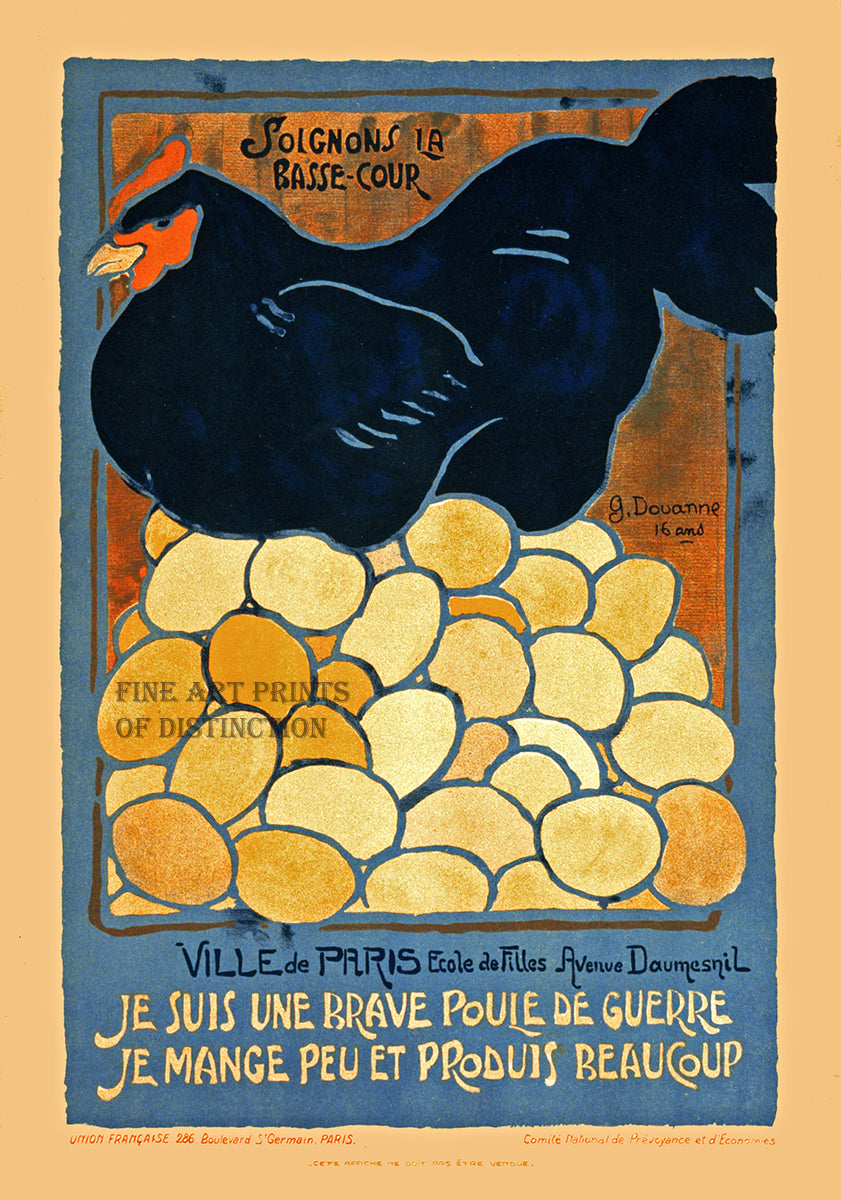 World War I French Poster Look After the Barnyard Art Print