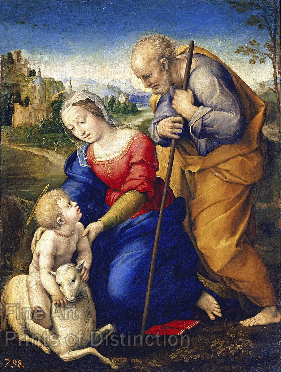 Raphael - The Holy Family With a Lamb Fine Art Print