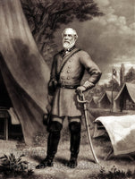 Civil War General Robert E. Lee standing beside his command tent