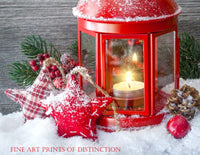 Christmas scene with a Red Lantern, Stars and Snow Holiday art print