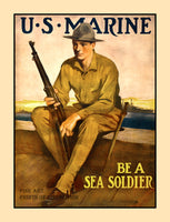 World War I recruiting poster of a US Marine Sea Soldier