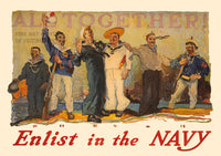World War I poster All Together Enlist in the Navy from 1917