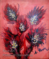 Louis Seraphine - Red Flowers Folk Art Print
