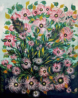 Louis Seraphine - Pink and White Flower Bouquet of Flowers Folk Art