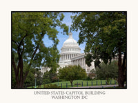 United States Capitol Building framed in trees poster style print