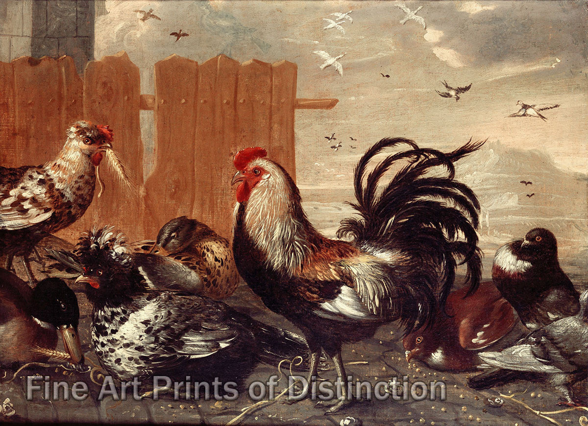 Rooster in the Barnyard by an Unknown 17th century Flemish painter