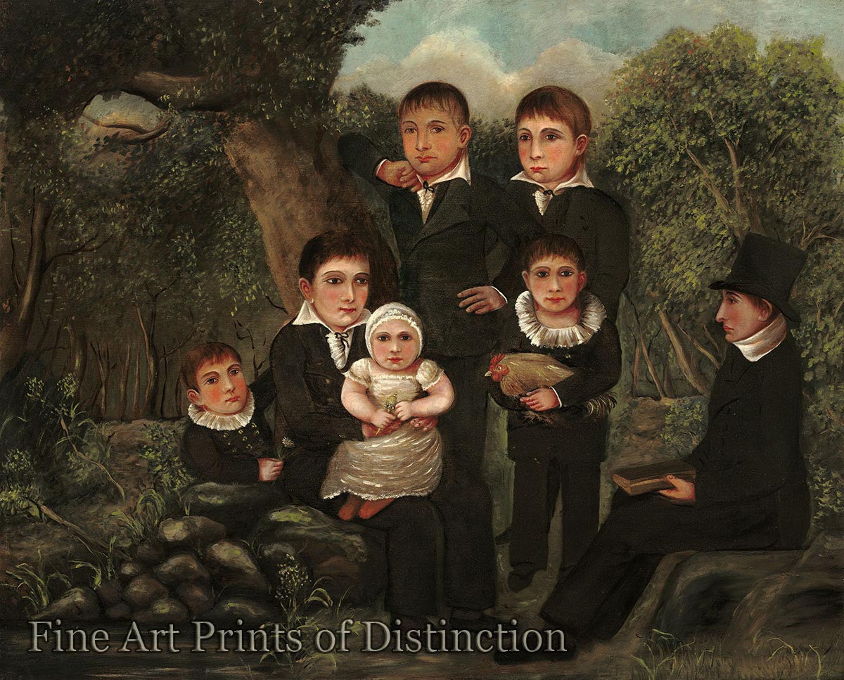 Unknown Artist - Abraham Clark and his Children Fine Art Folk Print