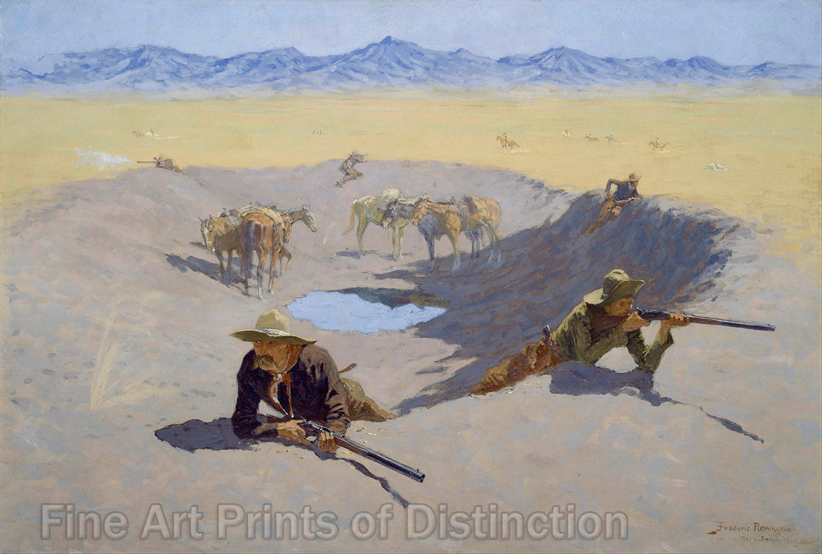 Fight for the Water Hole by Frederic Remington