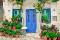 Geraniums with Pink Blooms in front of a Blue Door premium botanical print