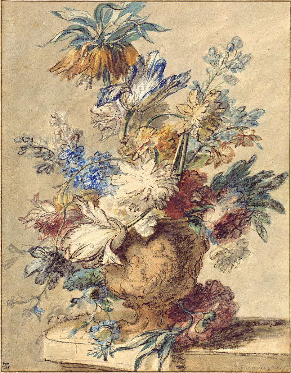 Bouquet of Spring Flowers in a Terra Cotta Vase by Jan van Huysum