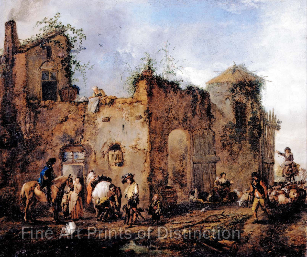Courtyard with a Farrier Shoeing a Horse painted by Philips Wouwerman