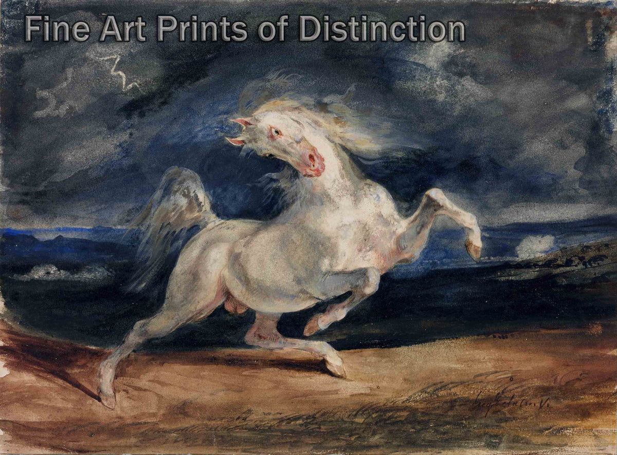 Horse Frightened by Lightning by Eugene Delacroix