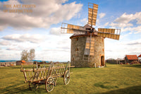 Windmill on a Round Stone Building and Wooden Cart Country Landscape Print
