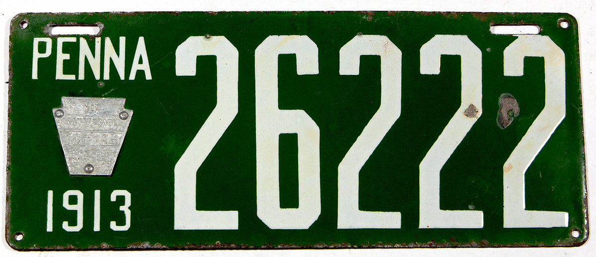 An Antique porcelain 1913 Pennsylvania passenger car license plate in very good plus condition