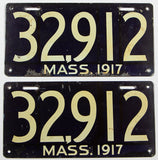 An antique pair of 1917 passenger car license plates in very good condition