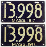 An antique pair of 1917 passenger car license plates in very good condition for sale by Brandywine General Store