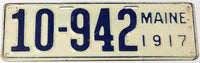 An antique 1917 Maine car license plate in very good condition