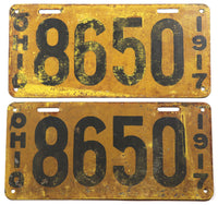 1917 Ohio License Plates for a passenger automobile grading very good minus