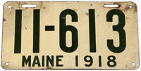 An antique 1918 Maine car license plate in very good minus condition