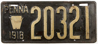 An Antique 1918 Pennsylvania passenger car license plate in very good condition