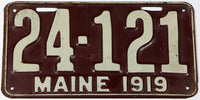 An antique 1919 Maine car license plate in very good condition