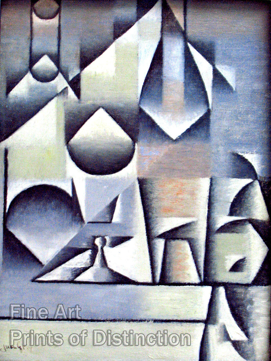 Glass and Bottles by Juan Gris