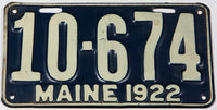 An antique 1922 Maine car license plate in very good plus condition