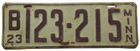 1923 Minnesota License Plate in very good condition