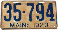 An antique 1923 Maine car license plate in very good condition