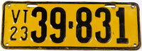 An antique 1923 Vermont car license plate in very good plus condition