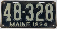 An antique 1924 Maine car license plate in very good plus condition