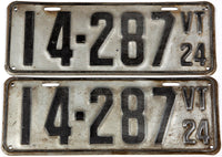 An antique pair of 1924 Vermont car license plates in very good condition