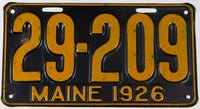 An antique 1926 Maine car license plate in very good plus condition