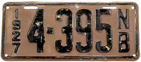An antique 1927 New Brunswick passenger car license plate for sale at Brandywine General Store in very good condition