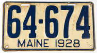 An antique 1928 Maine car license plate in very good condition