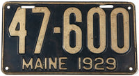 An antique 1929 Maine car license plate in very good condition