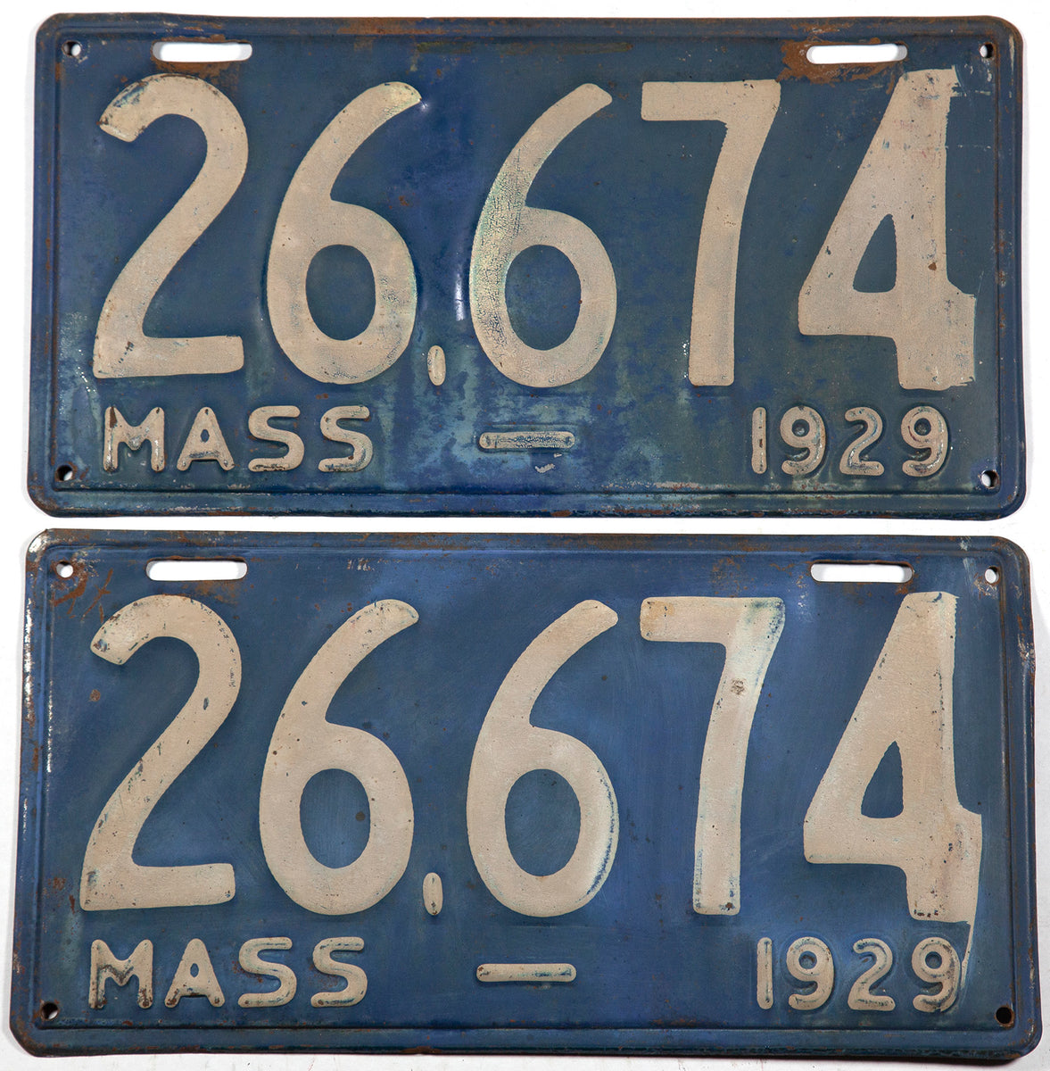 1929 Massachusetts antique car license plates in very good condition